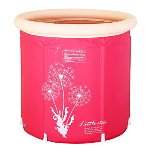 Bañera Barril de baño para Adultos Soporte Plegable Bañera de plástico Cuerpo doméstico Bañera Inflable Barril de baño de Aislamiento más Grueso (Tamaño: Rosa)