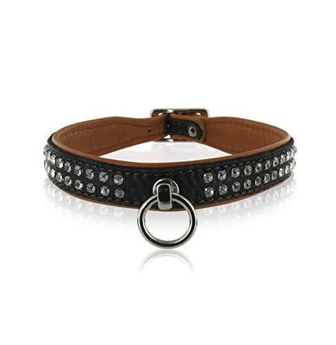 SiaLinda: Halsband Elch Leder mit Strass braun schwarz, gr. O-Ring, 20 mm breit
