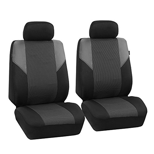 FH Group Gray-Half FB064GRAY102 Cross Weave Fabric Pair Set Seat Covers, Airbag Compatible, Black-Universal Car, Truck, SUV, or Van