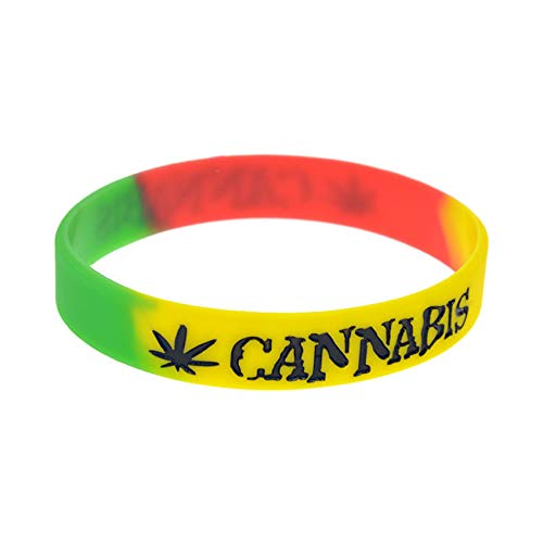 10 Unids Jamaica Weeds Jamaica Reggae Pulsera De Silicona Color Relleno Tendencia Hiphop Hiphop Pulsera Inspira Perfectamente Fitness