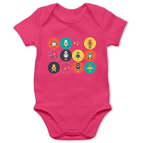 Shirtracer Up to Date Baby - Roboter Design - 3/6 Monate - Fuchsia BZ10 - Baby Body Kurzarm für Jungen und Mädchen