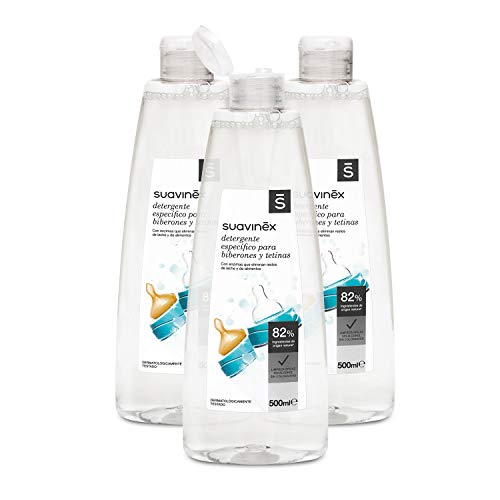 Suavinex Detergente para Biberones y Tetinas, pack de 3 (500 ml x 3)