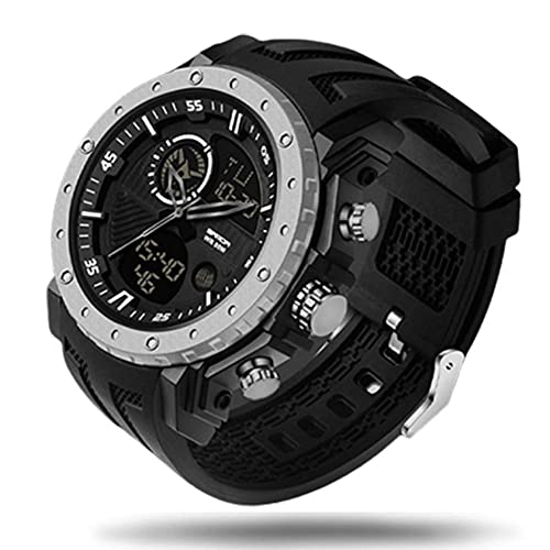 N&I Digital Watch for Men Double Display 50M Waterproof Mens Sports Watch with Alarm Clock Timer LED Light Digital Outdoors Watch (Color: Silver)