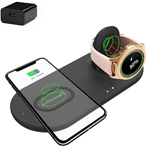 Xflelectronic 2 In 1 Wireless Charger, Qi Wireless Fast Charging Stand,Nightstand Mode,Charging Station For IPhone 12/12 Pro/11/11 Pro Max/XR/Xs/X/8/8P/Samsung Watches 42mm/46mm