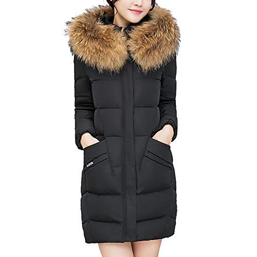 KEERADS - Abrigo Acolchado para Mujer, con Capucha, Cuello de Pelo sintético, de algodón