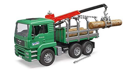 bruder 2769 Man - Camión Miniatura de Transporte de Madera con grúa y 3 Troncos de árbol
