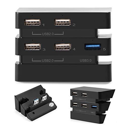 DELMO Hub USB de 5 puertos para consola de juegos PS4 Pro de alta velocidad 2.0 y 3.0 Adaptador de controlador de concentrador de expansión