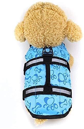 Perro Undershirt Cachorro Salvavidas con Traje De Baño De Protección Al Aire Libre Mascota Chaleco Salvavidas (Color : Blue, Size : L)