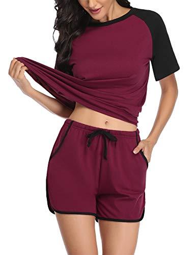 Abollria Pyjama Damen Kurz Schlafanzug Baumwolle Nachtwäsche V-Ausschnitt Basic Sleepwear Zweiteilige Schlafanzug Hausanzug Mit Negligee