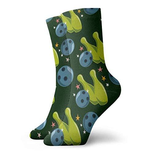 QUEMIN Socken Grüne und Blaue Bowling-Socken Klassische Freizeitsport-Kurzsocken 30 cm Geeignet für Männer Frauen