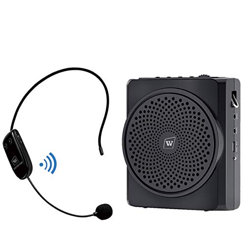 WinBridge Voice Amplifier with Wireless Microphone Headset Bluetooth, 16W 2200mAh Portable Rechargeable Pa Speaker and Microphone for Teachers, Tour Guides, Coaches, Elderly Etc S619 2020 New