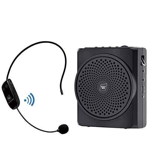 WinBridge Amplificador de voz con micrófono inalámbrico Bluetooth, 16 W 2200 mAh Altavoz Pa portátil y micrófono para maestros, guías turísticas, entrenadores, ancianos Etc S619