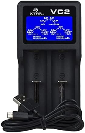 Xtar VC2 2-Schacht USB-Ladegerät (Micro USB-Eingang, LC-Display)
