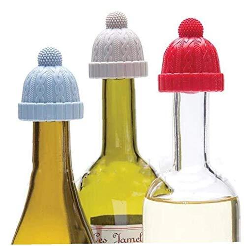 IUwnHceE Tapones De Botella Cap Beanie Decorativo Silicona Conservante del Vino De La Cerveza del Vino De Champagne Alcohol del Vino Espumoso De 3pcs Amigos