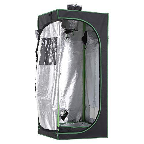 Outsunny Tenda da Coltivazione Idroponica in Mylar e Oxford 600D per Riflettere la Luce Grow Box Grow Tenda 60x60x140 cm