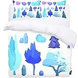 TIZORAX Queen Bedding Duvet Cover Set - Winter Tree And Stones 3 Piece Microfiber Comforter Set Quilt Cover and 2 Pillow Shams for Men Women