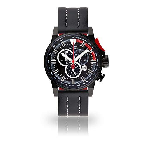 DETOMASO BOTTONE Herren-Armbanduhr Chronograph Analog Quarz schwarzes Edelstahlgehäuse schwarzes Zifferblatt - Jetzt mit 5 Jahre Herstellergarantie (Leder - Schwarz (Naht: Weiß))