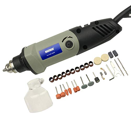 MAXMAN Professional Rotary Tool Kit, 400 W Multifunktions-Elektroschleifer mit verschiedenen Aufsätzen, 6-stufige variable Geschwindigkeit, für DIY-Kreationen, Schneiden, Gravieren, Polieren (grau)