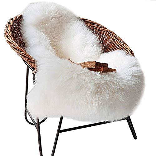 DAOXU Fell Lammfell Schaffell/Sheepskin Rug, Lammfellimitat Flauschigen Teppiche Imitat Kunstfell,Langes Haar Nachahmung Wolle Bettvorleger Sofa Matte (Weiß, 50x 80cm)