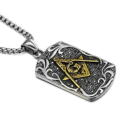 EZSONA Men's Stainless Steel Freemason Symbol Masonic Dog Tag Pendant Necklace 24 Inches Chain (Gold: Round)