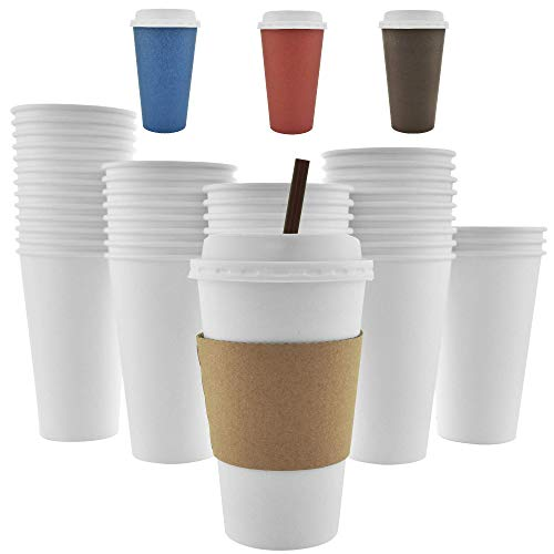 100 Pack - 16 Oz [12 Oz] [4 Colors] Disposable Hot Paper Coffee Cups, Lids, Sleeves, Stirring Straws - Clean White