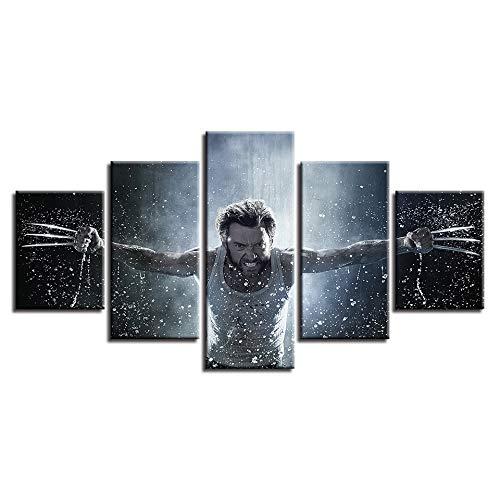 WMWSH Bilder Abstrakt 5 Teilig Wandbild Wolverine Charakter Vlies - Leinwand Bild Wandbilder Wohnzimmer Wohnung Deko Kunstdrucke Modern Wandbilder Design Abstrakt Poster Wanddekoration