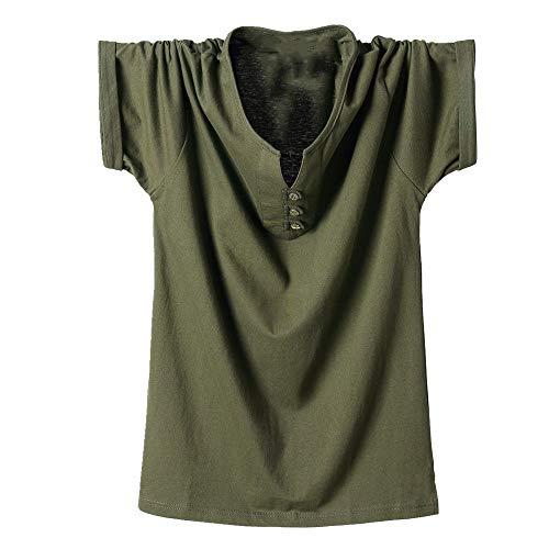 Camiseta de manga corta para hombre de verano grande todos los deportes de algodón para hombre Verde verde XL