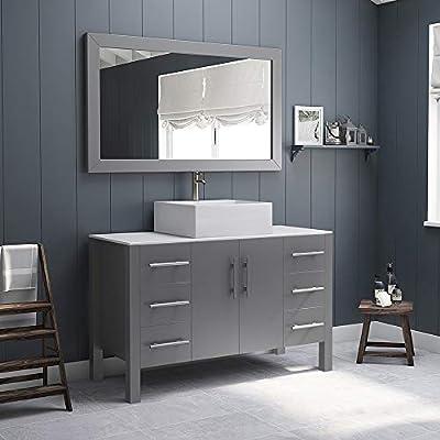 """48"""" Grey Single Vessel Sink Bathroom Vanity, White Porcelain & Sink, Brushed Nickel Faucet Barry"""