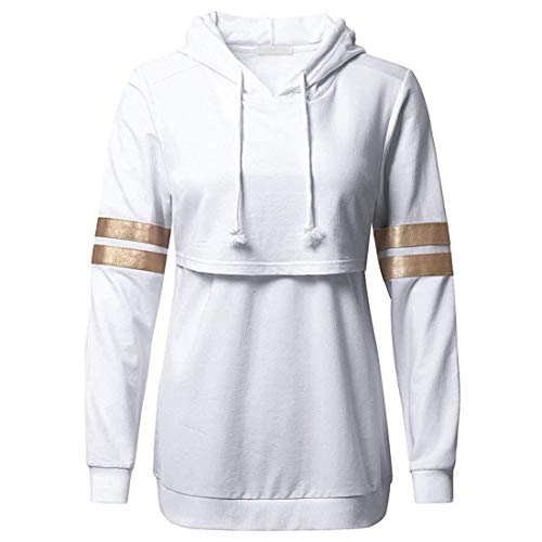 Women Hoodie Women Sweatshirt Elegant Tether Loose Long Sleeve Sports Pullover Autumn New Casual Comfortable All-Match Vacation Breathable Nursing Clothing Women Sweatshirt A-White M