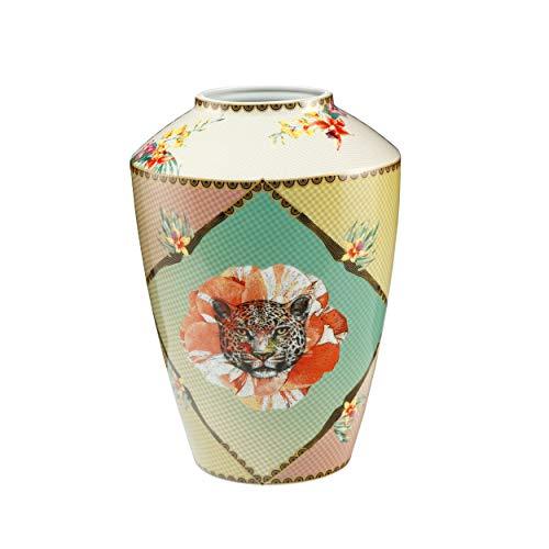 Goebel Vase 33 cm Leopard Elephant Red