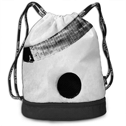 Ice Hockey Ball Drawstring Bag Sport Travel Sackpack Large Capacity Beam Backpack, Home Travel Storage Use Gift for Men & Women, Girls Boys