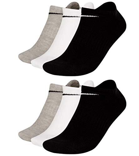 Nike SX7678 - Calcetines tobilleros (6 pares), color blanco, gris y negro 6 pares multicolor. Aprox.134 cm
