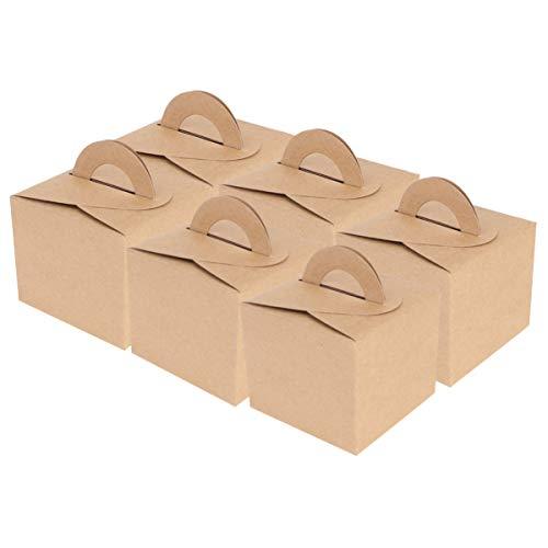 DOITOOL 50Pcs Scatola per Torta Scatole per Imballaggio in Carta Kraft Portatile Scatole per Caramelle Natalizie Scatola per Dolci Natalizi Biscotti Porta Caramelle per Negozio di Dolci