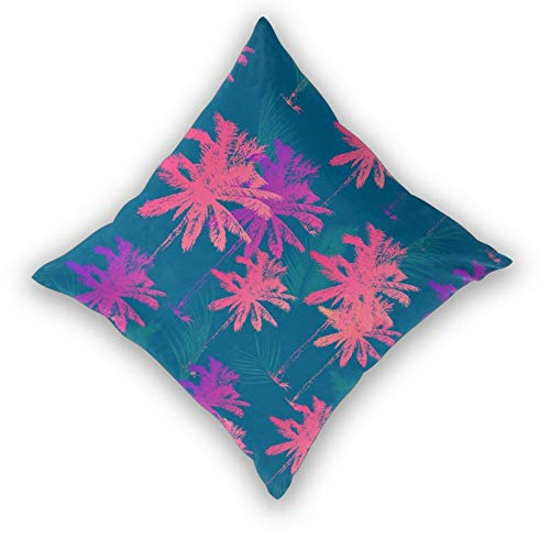 Kgblfd 3D Print Throw Pillow Cover Case,Backpack Palm Tree Pattern Seamless Simple Style,Modern Pillowcase for Sofa Couch Bed Car Set Home Decor 20'x 20' Pillowcase Cushion Covers Zipper 2pcs