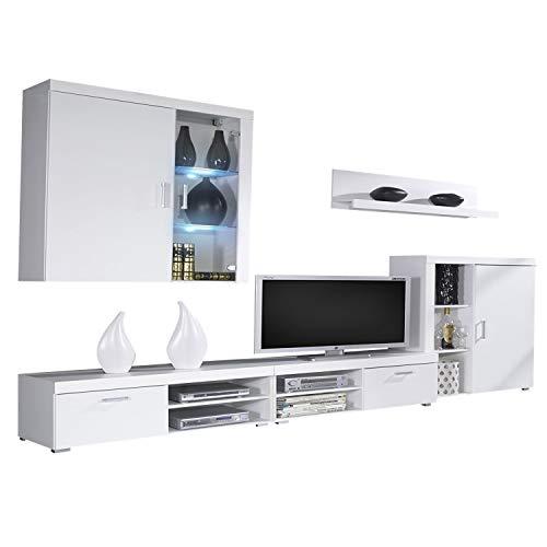 SelectionHome Mueble Comedor, Salon Moderno con Led, Acabado en Blanco Brillo Lacado y Blanco Mate, Medidas: 290 cm (Ancho) x 200 (Alto) x 45 cm (Fondo)