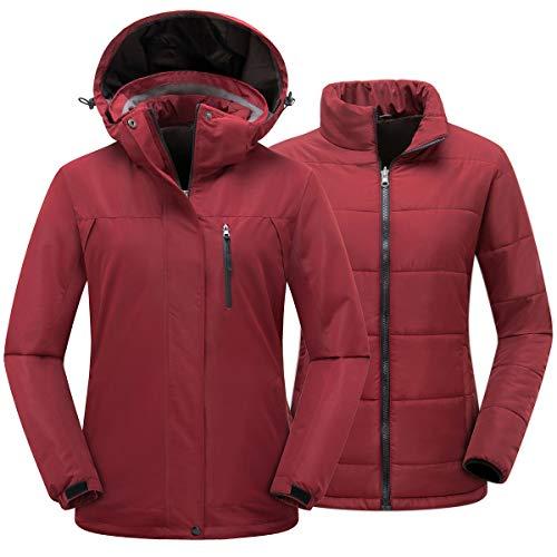 PTSOC Women's Winter 3-in-1 Waterproof Ski Jacket Outdoor Mountain Snow Coat Rain Jacket with Detachable Hood Wine X-Large