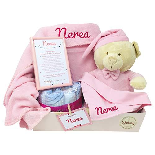 MabyBox Ternura   Canastilla Bebé Regalo   Regalo bebé   Cesta de Recién nacido Personalizada (Rosa)