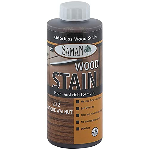 SamaN Interior Water Based Wood Stain & Natural Furniture, moldings, Wood Paneling and cabinets Stain (Antique Walnut TEW-212-12, 12 oz)