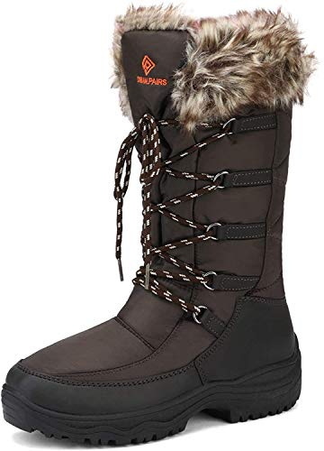 DREAM PAIRS Women's Maine Brown Knee High Winter Snow Boots Size 9 M US
