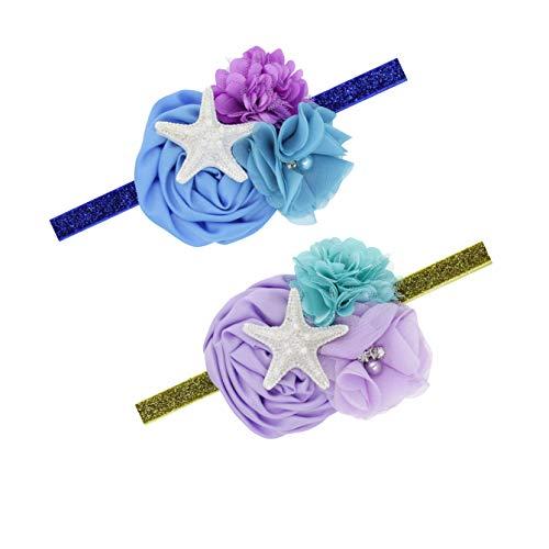 Baby Starfish Mermaid Headbands with Flower Hairband Girls Hair Accessories JB321 (2 Pcs-Set-A)