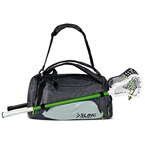 Sling Lacrosse Bag - Hybrid 2.0 - Use As a Backpack or Duffel Bag - Holds 2 Sticks and All of Your LAX Gear - 40L Capacity