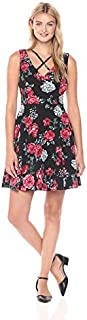 GUESS Women's Printed Scuba Fit and Flare Dress