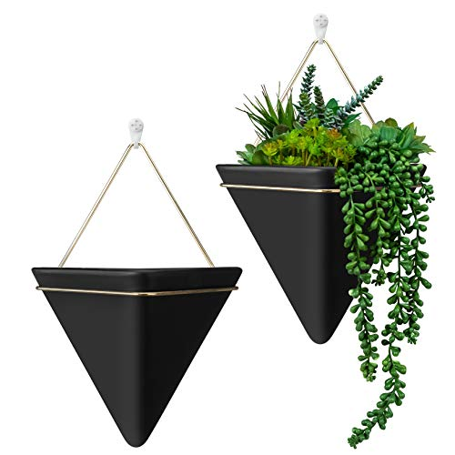 HangerSpace Large Wall Planter 2 Pack, Ceramic Planter Indoor Hanging Planter Wall Decor for...