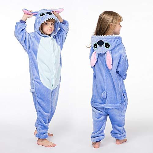 Hiwill Bambini Unisex Kigurumi Pigiama Onesie, Ragazza Ragazzo Anime Cosplay Halloween Natale Party Costume Attrezzatura Sleepwear (Blue Stitch,6T)
