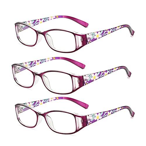 JUNZ 3 Paquetes Gafas de Lectura para Computadora con Anti-Luz Azul para Mujer,Gafas para Leer Portátil Impreso de Moda,Dioptría 1.0-3.5, Negro, Rojo