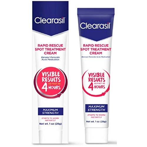 Clearasil Rapid Rescue Spot Acne Treatment Cream, 1 oz (Pack of 2)