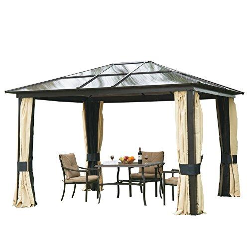 HOMCOM Outsunny Pavillon Gartenpavillon Alu Partyzelt Gartenzelt mit lichtdurchlässigem PC Dach