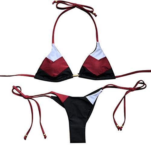 Allegorly Badebekleidung für Damen,Sexy, geteilter Badeanzug mit bronzierten Nähten Bikini-gesetzte heiße Stempel-Sport-Badebekleidungs-Push-up aufgefüllter Badeanzug