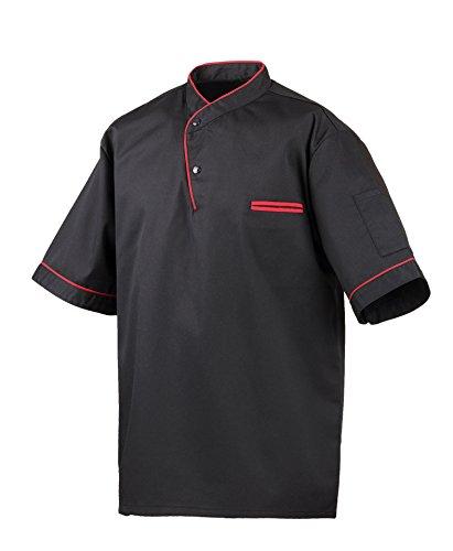 Exner Kochhemd Modell 217, halbarm, Paspelierung in Kontrastfarbe (L, schwarz/rote Paspel)