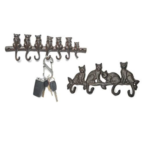 Ganchos Gancho de hierro forjado Escudo del jardín del metal Decoración encima de la puerta del monedero multi tecla Colgado gato suspensión de la pared decoración del hogar retro europeo colgadores